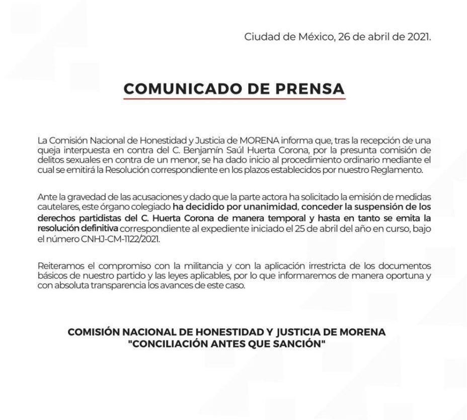 Suspensión provisional de sus derechos políticos al diputado Saúl Huerta